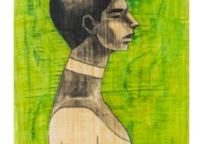 HBOR-04  Acrylic on Papyrus   70.5 x 51 cm   2019