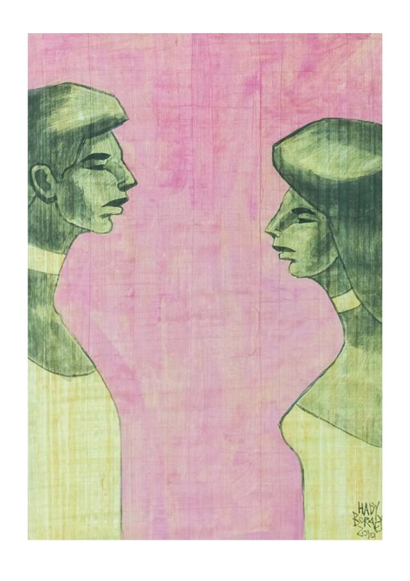 HBOR-07   Acrylic on Papyrus   70.5 x 51 cm   2019